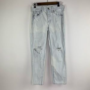 American Eagle Striped Distressed Tomgirl Jeans 2